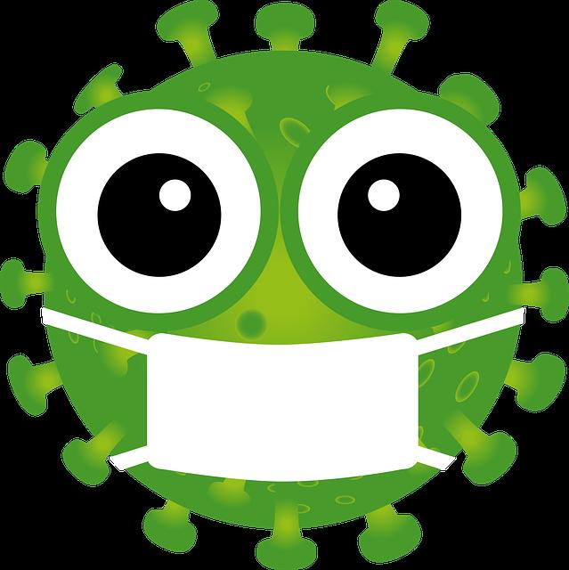 Humerous coronavirus cartoon image of a mockup virus wearing a face mask